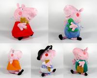 2014 Peppa Pig  Plush Toy 24CM Cute Soft Stuffed Piggy  5PCS/set Doll High Quality  Best Gift  Free Shipping