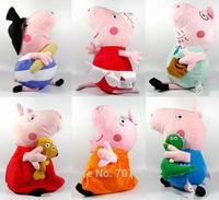 "2014 Peppa Pig  Plush Toy 30CM Cute Soft Stuffed Piggy  6PCS/set  12"" Doll High Quality  Best Gift  Free Shipping"