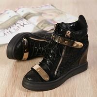 GZ Sneakers Snakeskin High Wedge Women Sneakers,Genuine Leather High Top Sneakers,Lace Up Trendy Sneaker 2014