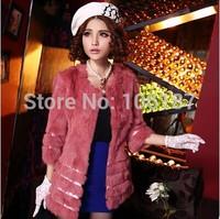 Women faux fur coats Three Quarter  sleeve o-neck 10colors 2015 winter medium long Faux Fur Coat for women  jackets outerwear