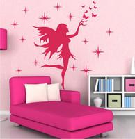 Newly designed Fairy Stars Butterflies Removable Kids Wall Stickers Girls Home Decoration Wall Art decor sticker