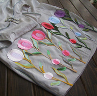 Tulip Flower Applique Cotton Embroidery Collar Cotton White Altered Iron on Patch Applique 5pcs