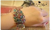 2014 New Fashion Vintage multicolor rhinestone peacock Bracelets