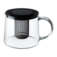 1 piece 1.5L Heat resistent glass body stainless steel insert teapot