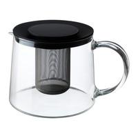 1 piece 1.5L Heat resistent glass body stainless steel insert teapot