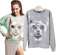 2015 New European Style Women Character Cat Printed Long Sleeve Pullover Hoodies Ladies Casual Fashion Sweatshirt Sudaderas