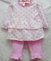 new baby girls longsleeve dress suit 2014 autumn original carters love-heart tiered dress+leggings 2-piece set girl's clothing