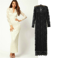Fashion new arrival 2014 style autumn and winter lace one-piece dress of perspectivity V-neck slim sexy full dress