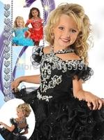2014 New Arrival Halter Black Cupcake Girls Pageant Dresses Mini Crystal Beaded flower girl dresses for little kids JY043