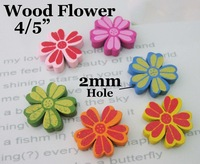 Free Shipping Random 100pcs Mixed Multicolor Cute Flower Wood Beads For Jewelry Bracelet  W0090