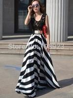 ALK1824 FreeShipping fashion stripe slim expansion bottom lace beach dress 2014summer mopping super bohemia chiffon long dresses