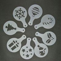 8X  Coffee Stencils Templates Barista Cappuccino Art Christmas Designs