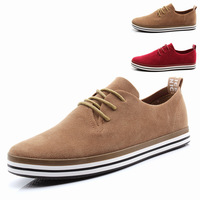 Leather male breathable commercial genuine leather lacing 2014 casual trend