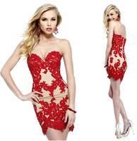 Fashionable New Red Sexy Tube Top Slim Lace Short Evening dress Blue vestido de festa celebrity dresses party dresses gown E85
