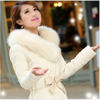 Plus size Luxury Large fur collar fashion slim medium-long down coat women elegant white jacket