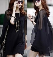 2014 han edition of the European and American bat sleeve cloak skirt loose women's fashion leisure chiffon dress
