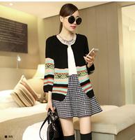 sweaters 2014 women fashion big yards Striped long-sleeve women winter knitted  sweaters cardigan free shippingEW700