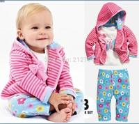 Wholesale Baby Girl's 3 Pcs Suit Set Autumn Baby's Sets 100%Cotton Bow Stripe Hoody Jacket + Long Sleeve Shirts+ Flower Pants