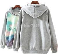 2015 New Women On The Way Landscape Printed Long Sleeve Hooded Sweatshirt Ladies Loose Casual Fashion Hoodies Cute Sports Suit