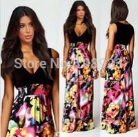 A8190 2014 Fashion Women Vestidos Clothing Sexy Deep V-Neck Sleeveless Floor Length Full Dress Floral Print Dresses Freeshipping