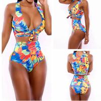 2014 New Girl Swimsuit Swimwear Women Sexy High Waist Bikini Print Bandage Push Up Beachwear Monokini Swimsuit Bikinis Set