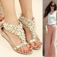 New arrival rhinestone zipper pearl beaded high heels gold black flip flops wedges sandals women shoes spring summer 2014