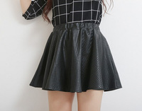 2014 New Arrival Hot Sale Free Shipping High Quality Pleated Skirts Leather Skirt Elastic Waist Plaid Skirt Black