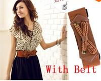 HOT 2014 Summer Korean Women Fashion Chiffon Dress Short-sleeve Dots Waist Mini With Belt Dresses
