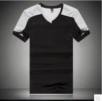 mens t shirts fashion 2014 High quality summer new men's short sleeve V-neck T-shirt,size:M- 5XL Free Shipping
