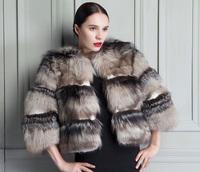 2014 full women autumn winter leather wrist length fur coat designed luxurious silver fox coat ladies short-sleeved new