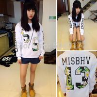 2014 fall MISBHV loose oversized sports Pullovers print flowers letter number 13 sweatshirts harajuku Punk sweatshirt for women