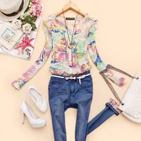 New 2014 blusas femininas Women blouses flower printed shirt sprirng auturn v-neck chiffon blouses women clothing Casual