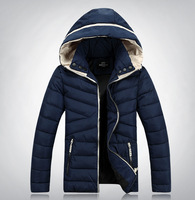 2014 Autumn Winter Men Warm Slim Fit Coat Parka Men Outdoor Thick Hooded Cotton-padded Down Jackets  5 Colors Plus Size M-2XL