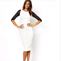 2014 Spring Bodycon Dress For Women Half-Length Leather Sleeve Patchwork Dresses Casual Wear Plus Size