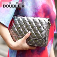 Mini cross-body bags 2014 women's genuine leather handbag small plaid chain bag