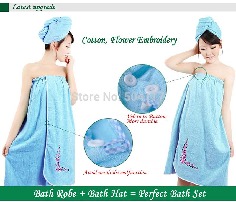 Wholesale Brand Robe 2Sets 100% Cotton Bathrobe Dressing bathroom Sexy Women Bath Robe+Hair Turban ultra absorbent 190023(China (Mainland))