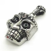 Demon Ghost Men Vintage Pendant, Promotion Sale,Size 6*3cm Stainless Steel Crystal Eyes Skulls Pendant Necklace Chain Men Gift