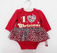 Baby Dress Rompers Baby long Sleeve Romper Infant Tutu Dress Christmas Leopard Toddler Girls Ruffles Tutu skirt Romper