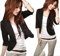 2014 New Women's Sexy Black One Button Small Suit Jacket women coat blazer[ 240370]