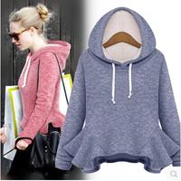 2014 High Street Autumn Trend All-match Women Sports Hoodie Slim Ruffles Solid Crop Sweatshirt Europe Style Pullover Tracksuit