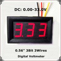 "Red  Display led Color 0.56"" DC0-33.0V Digital Voltmeter with shell 3 wires 3bit Variable precision Voltage Meter [4 pcs/lot]"