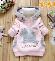 2014 Retail free shipping baby girls winter cute cartoon sweatshirts kids plus velvet thicken hoodies child cotton jackets  t321