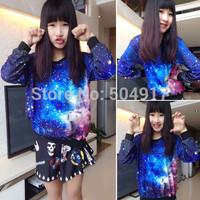 2014 new harajuku Korean Preppy style sweatshirt Star tie-dye galaxy loose Pullovers gradient sweatshirts for women tracksuits
