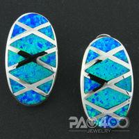 Pacific Blue Fire Opal Silver Fashion  Jewelry Heart Women Stud Earrings  OCE0099L  Wholesale & Retail