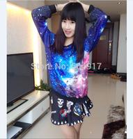 2014 new harajuku loose Pullovers gradient sweatshirts Korean Preppy style sweatshirt Star tie-dye galaxy for women tracksuits