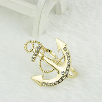 Euramerican fashion rings diamond-studded anchor double loop ring Resizable ring,free shipping