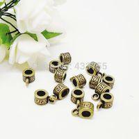 Free Shipping 60pcs/lot 10x5mm Antique Bronze Pattern Bail Beads Jewelry Making Findings