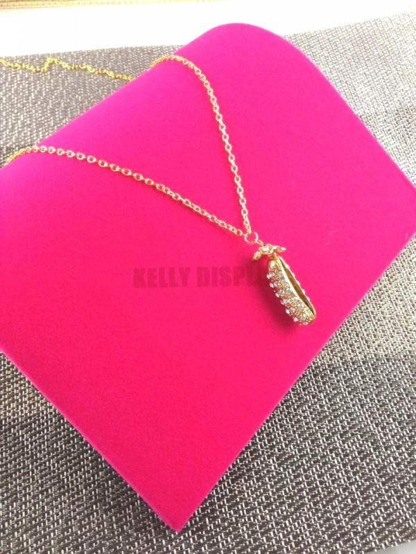 Cheap Jewelry Display Organizer Holder Supplier,4pcs 20*19*3.5cm Hot Pink Velvet Jewelry Necklace Bracelet Display Show Rack(China (Mainland))