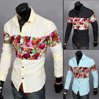 Free shipping 2014 new style design fashion men color block splicing shirt,men's casual slim shirt, 3 colors 4 size, wholesale