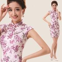 Summer woman fashion slim cheongsam vintage stand collar plate buttons small cheongsam dress